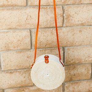 Cross Body White Basket Purse (Medium)